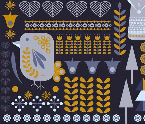 Grey Scandinavian fabric by elektrasroom on Spoonflower - custom fabric
