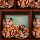 cat vintage pottery square