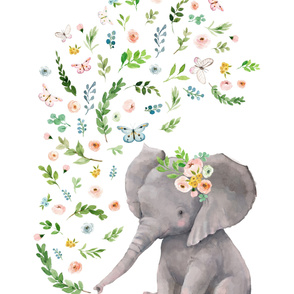 "54""x72"" Floral Baby Elephant"