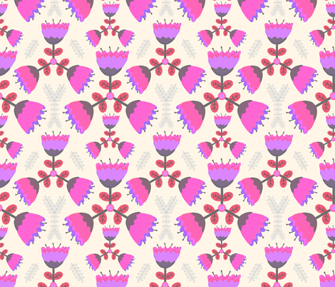 Scandinavian Floral Windmill in Pink fabric by thewellingtonboot on Spoonflower - custom fabric
