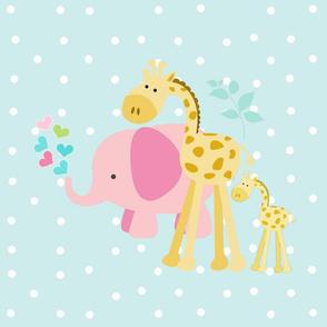 pink hearts elephant friends 2 on seaglass white polka dot - XL 1951