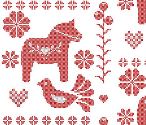 scandinavian cross stitch giftwrap - dessineo - Spoonflower