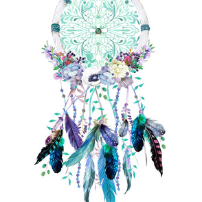 """27""""x36"""" Lilac and Teal Dream Catcher"""
