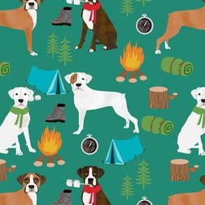 boxer dog camping fabric - camping dog, camping fabric, boxer fabric, cute dog, dogs, dog design - green