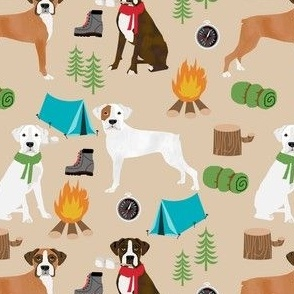 boxer dog camping fabric - camping dog, camping fabric, boxer fabric, cute dog, dogs, dog design - tan