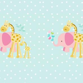 pink hearts elephant friends seaglass -  XXl 27x36