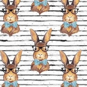 "4"" BUNNY WITH GLASSES larger stripes"