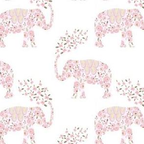 """4"""" Boho Pastel Elephant Floral Pink Back"""