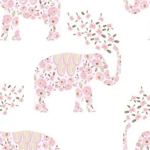 """8"""" Boho Pastel Elephant Floral Pink Back"""