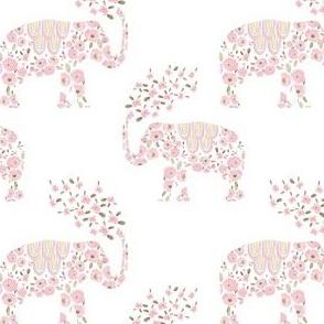 """4"""" Boho Pastel Elephant Floral White Back"""