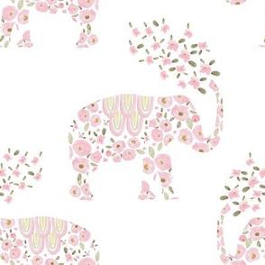 """8"""" Boho Pastel Elephant Floral White Back"""