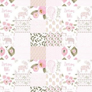 "4"" Boho Pastel Pink Elephant Floral Whole Cloth"