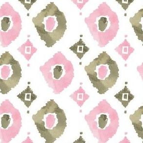 "4"" Pink and Green Ikat Print"