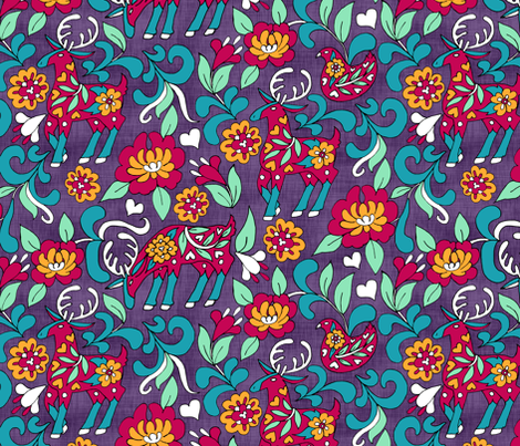 Folksy Deer Floral fabric by pond_ripple on Spoonflower - custom fabric