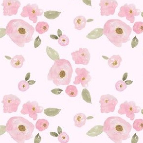 """4"""" Pink Pastel Florals Pink Back"""