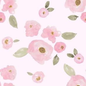 """36"""" Pink Pastel Florals Pink Back"""