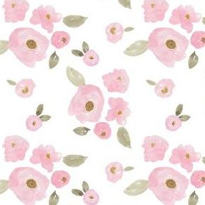 """4"""" Pink Pastel Florals White"""