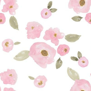 """8"""" Pink Pastel Florals White"""