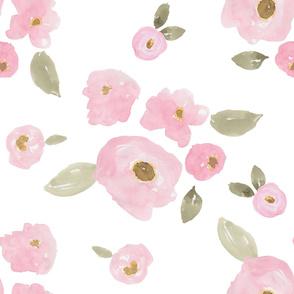 """36"""" Pink Pastel Florals White"""