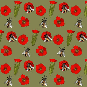 Buttercup repeat red flowers green