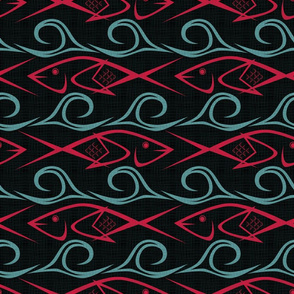 fish and waves12 9 2018 red n blue on blk grn