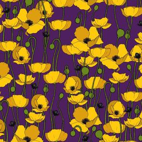 Mustard poppy repeat purple - medium