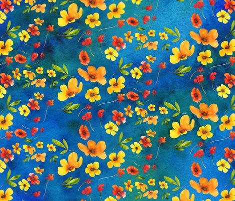 scandinavian summer in blue fabric by madeinskandia on Spoonflower - custom fabric