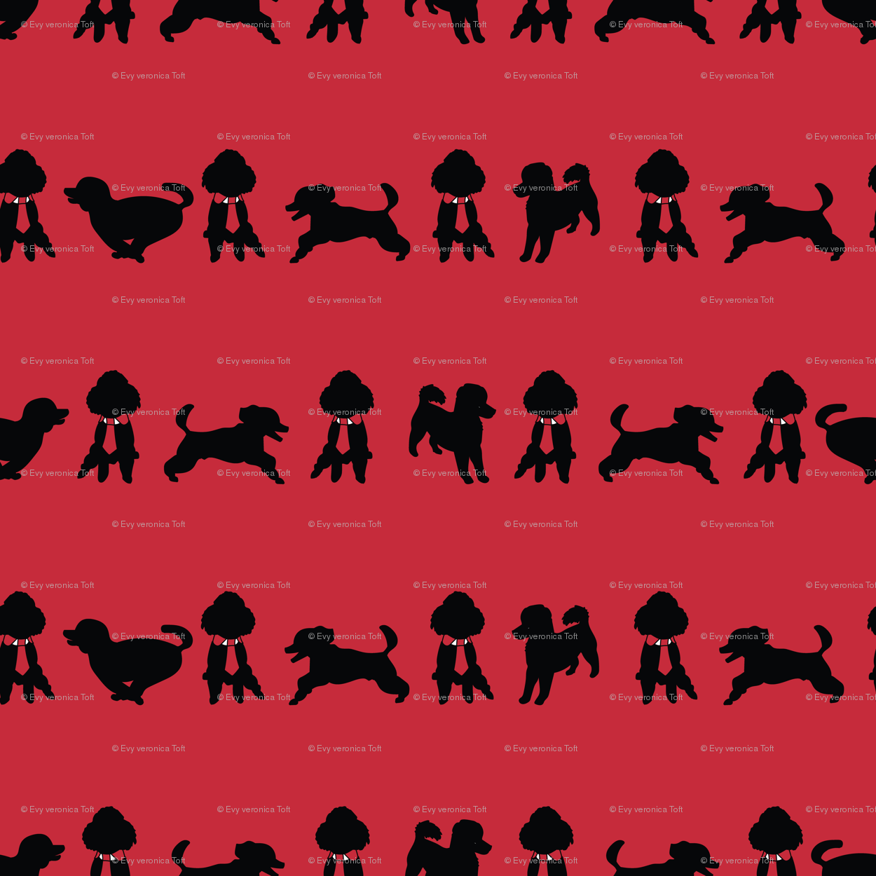 Red_Happy_Poodle_Stripes_Stock wallpaper - evy_v_design - Spoonflower