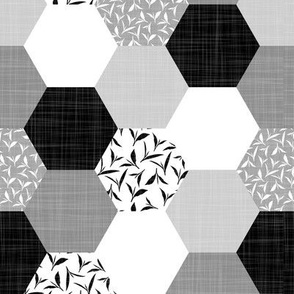 tea leaf hexagons - black and white - linen texture