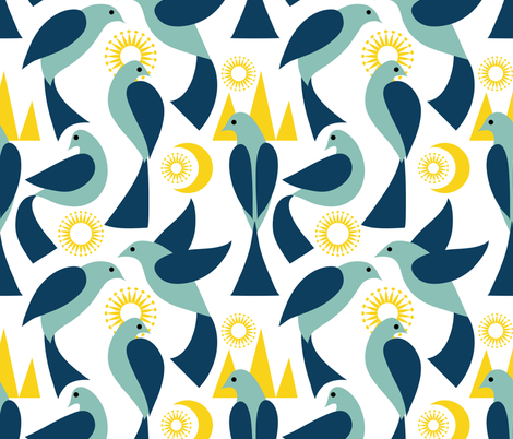 Birds in the Land of the Midnight Sun fabric by vo_aka_virginiao on Spoonflower - custom fabric