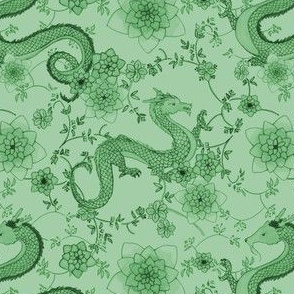 Chinoiserie Dragons // small green on green
