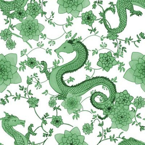 Chinoiserie Green Dragons