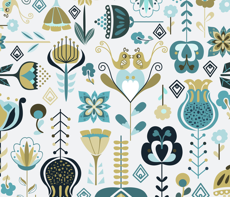 Scandi Flowers - Blue and Green fabric by paula_ohreen_designs on Spoonflower - custom fabric