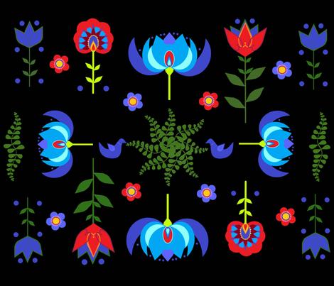 ScandanavianFolkArt fabric by rainybowy on Spoonflower - custom fabric