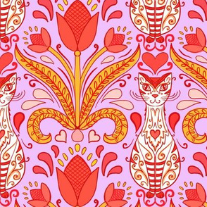 folk art cats and tulips on retro pink