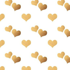 Gold Hearts on white