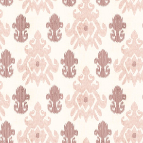 18-1p Distressed Red Salmon Ikat on Cream