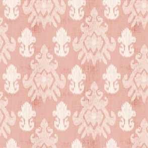 18-1m Cream Ikat on Salmon Red Distressed