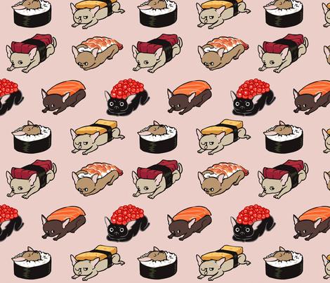 Sushi Chihuahuas  fabric by huebucket on Spoonflower - custom fabric
