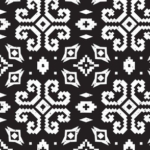 Black and white Latvian motifs