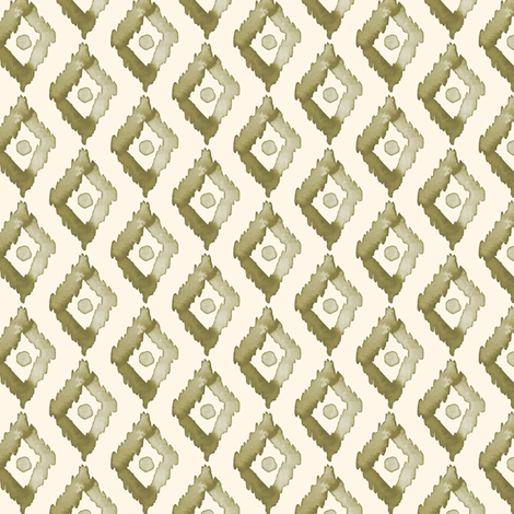 18-1j Olive green Diamond on Cream - Small fabric by misschiffdesigns on Spoonflower - custom fabric