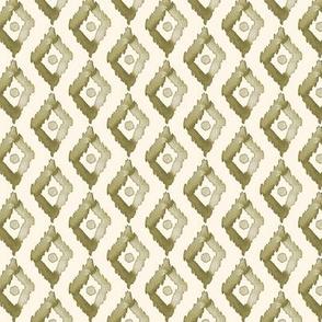18-1j Olive green Diamond on Cream - Small