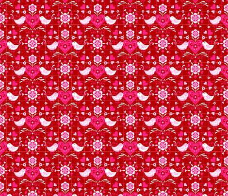 Folk Art Valentine Lovebirds fabric by nikijin on Spoonflower - custom fabric