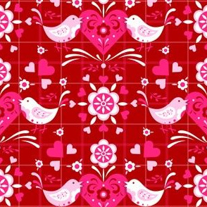 Folk Art Valentine Lovebirds