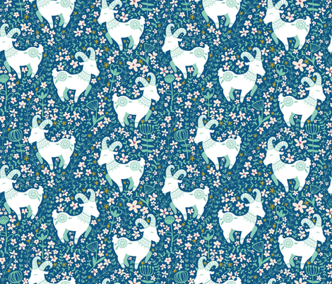 Totes my Scandinavian Goats fabric by hey_there_louise on Spoonflower - custom fabric