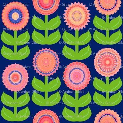 Peach Blue Brights Geometric Flowers