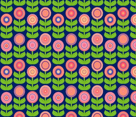 Peach Blue Brights Geometric Flowers fabric by squirrelcoffee on Spoonflower - custom fabric