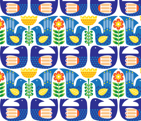Scandinavian Birds and Flowers fabric by twohanddesign on Spoonflower - custom fabric