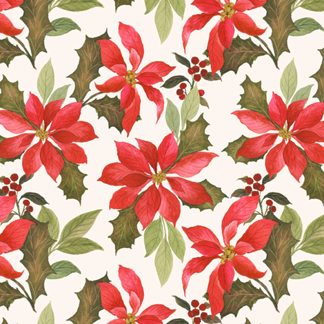 Pretty Poinsettia 2 fabric by mintpeony on Spoonflower - custom fabric