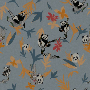Panda Party on darker grey with colourful leaves